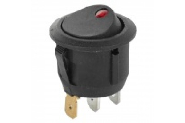 12v - 20amp DC 2-step Rocker Switch - Black w/Red LED