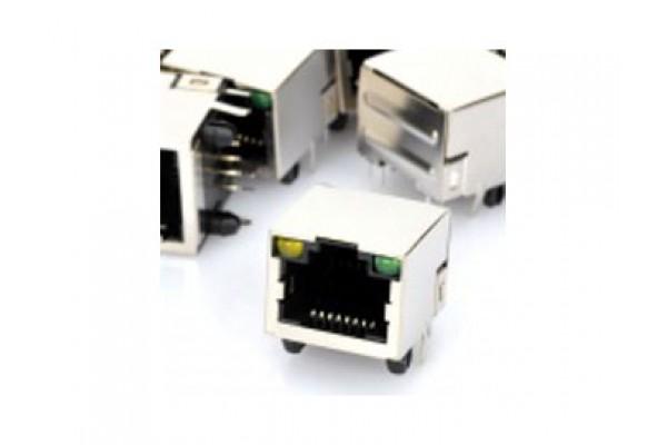 RJ45 Network Socket with Indicator Lights - PCB Mount