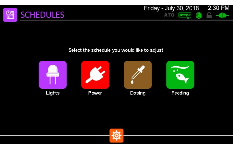 Schedules Menu