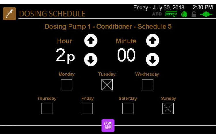 Edit Dosing Pump Schedules