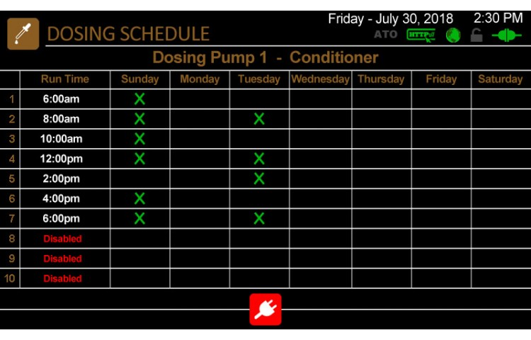 Dosing Pump Schedules List