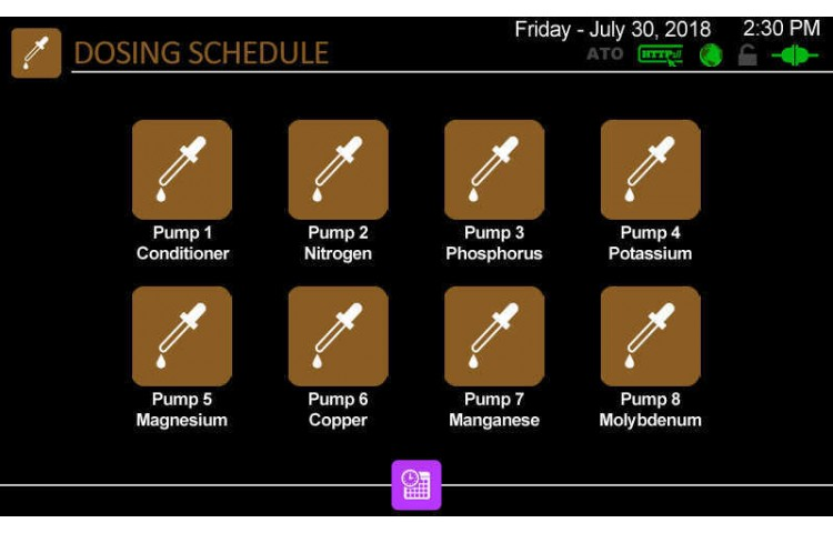 Dosing Pump Schedules Menu