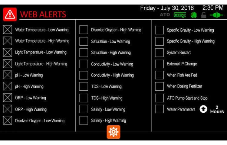 Web Alerts Settings