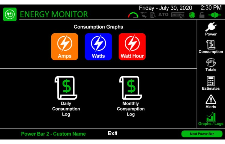 Energy Monitoring Graphs and Logs Menu