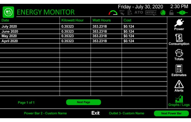 Energy Monitoring Log Monthly