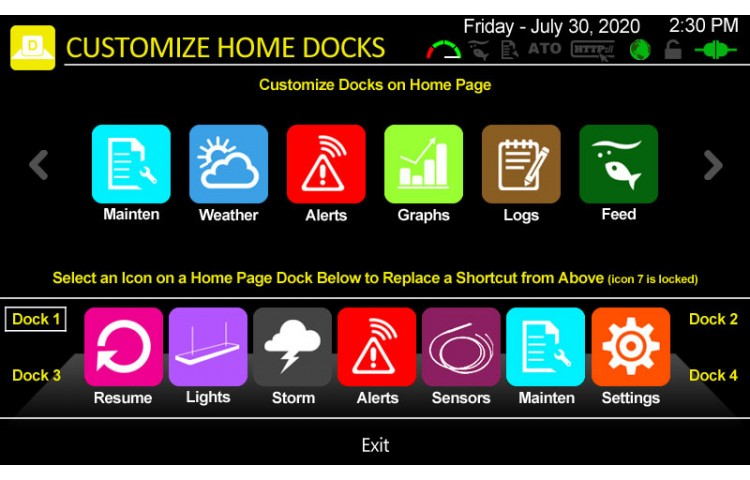 Customize Home Page Dock