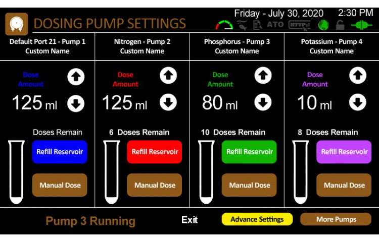 Dosing Pump Settings