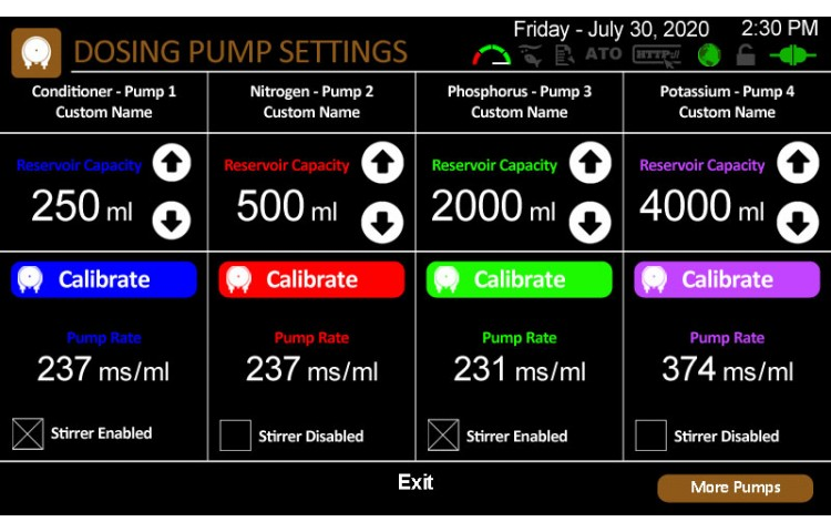 Advanced Dosing Pumps Settings