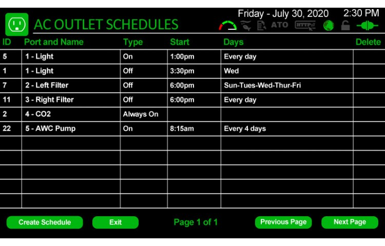 AC Outlet Schedules List