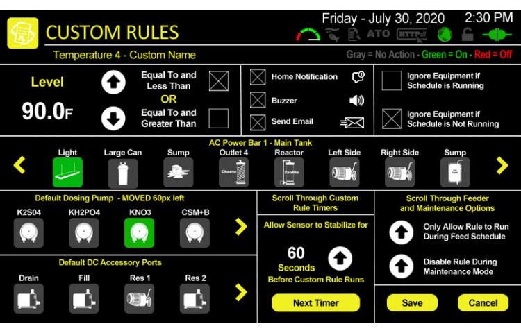 Select Options for Custom Rule